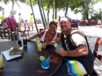 Notice the drinks match my boardshorts?